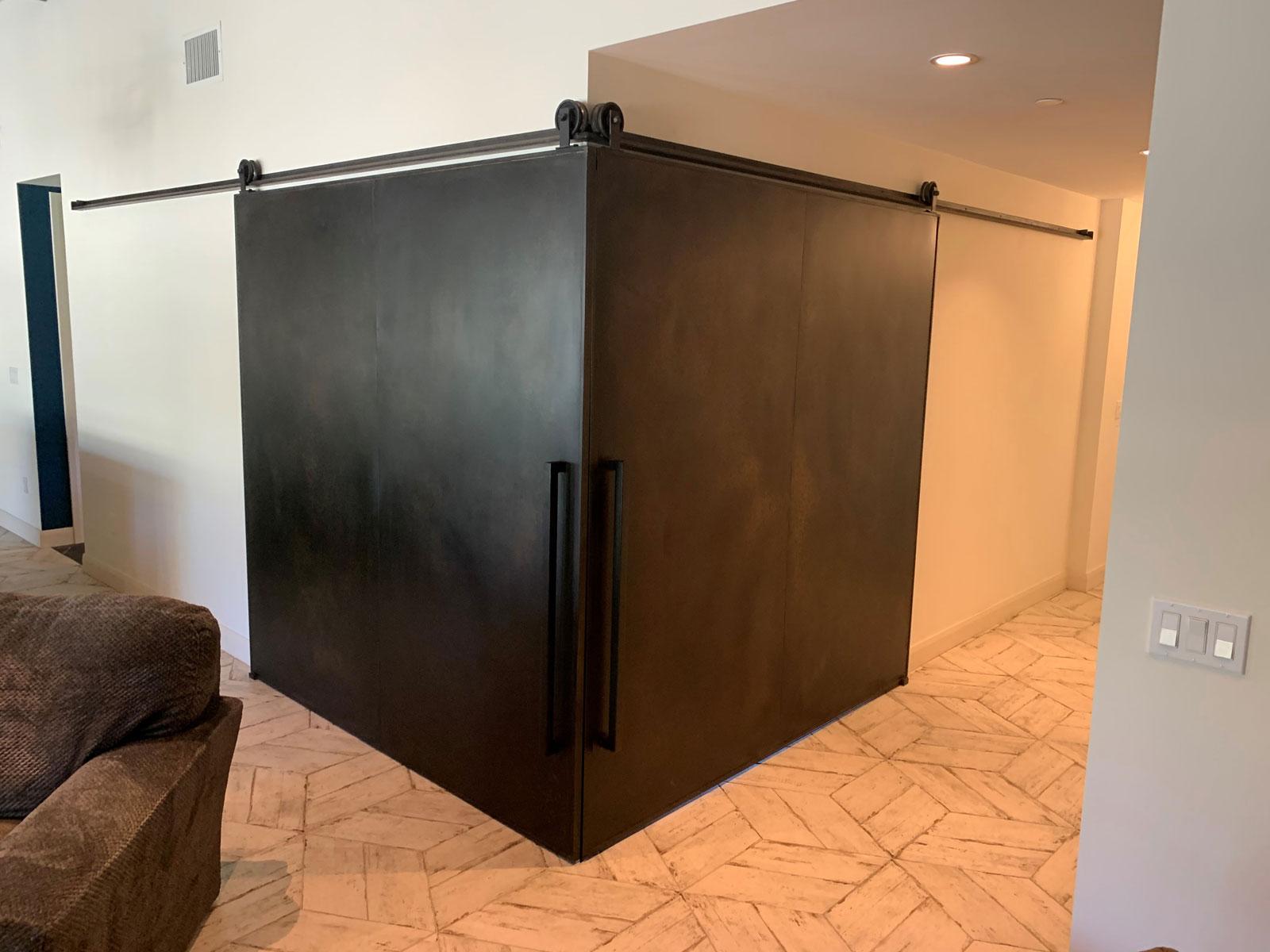 Patina steel doors in a corner