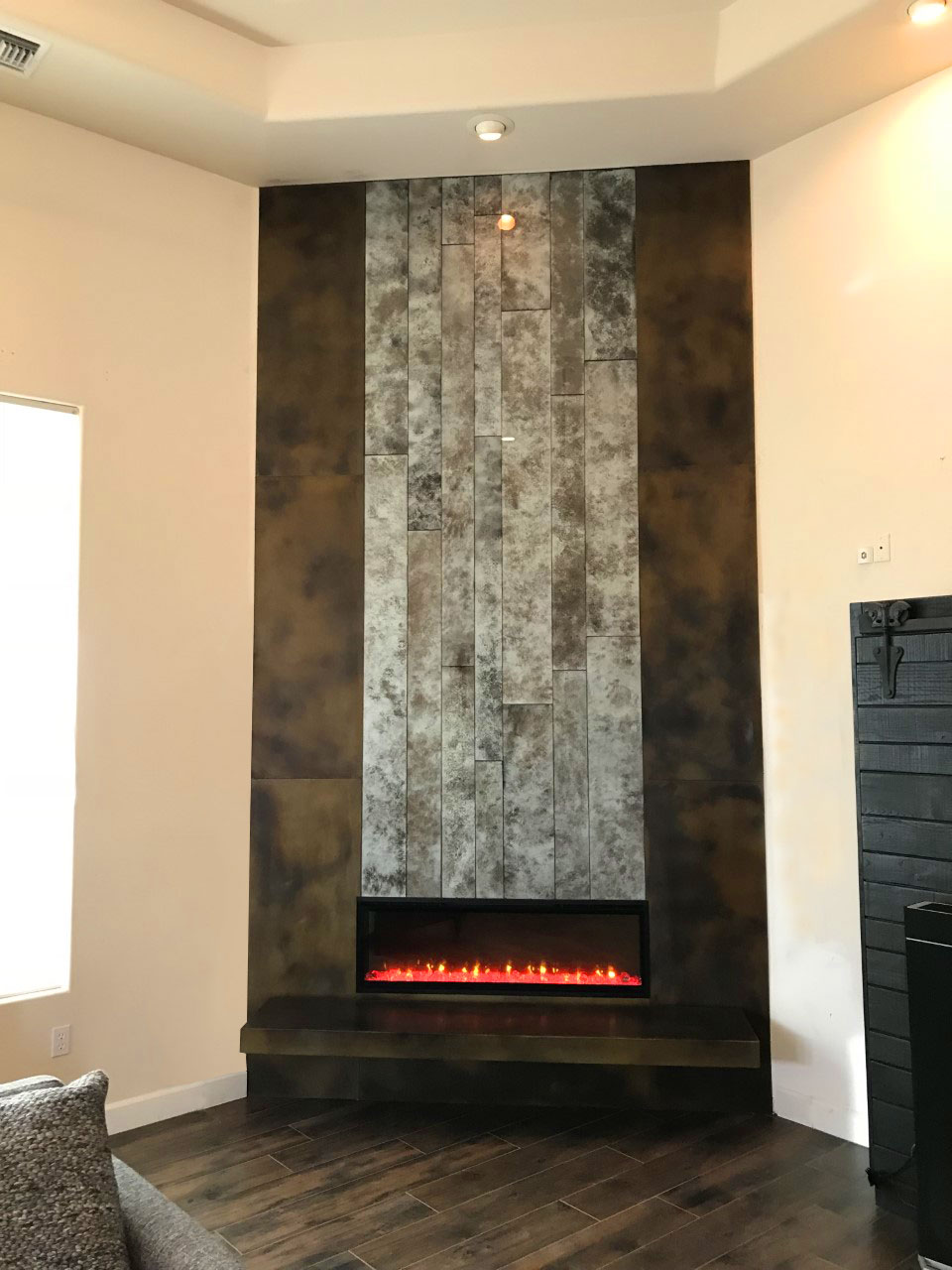 metal and glass fireplace