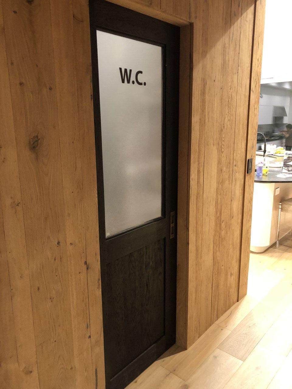 hinged wood water closet door