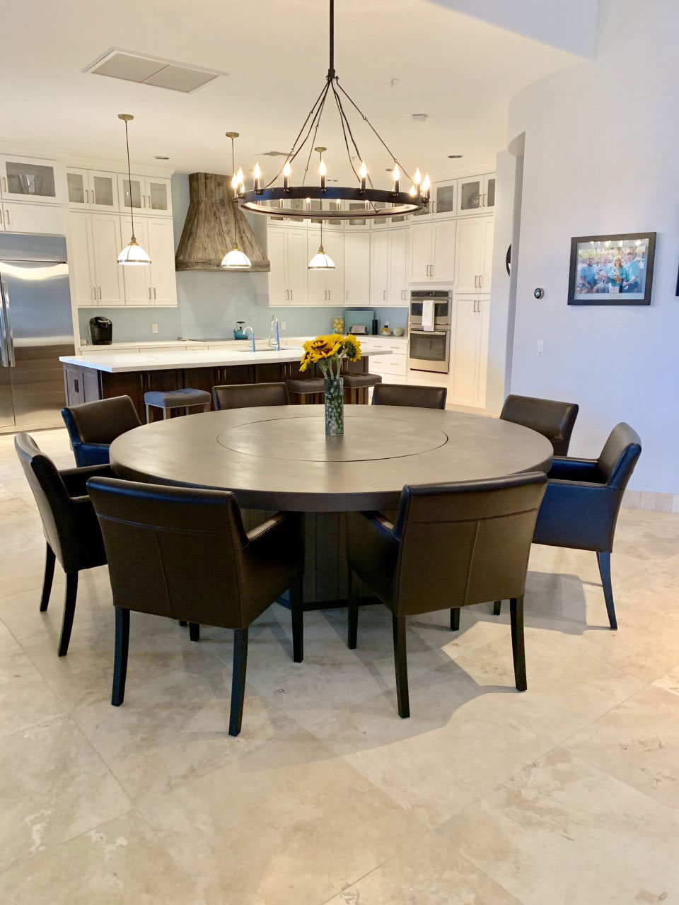 large round table with lazy susan and pedestal base