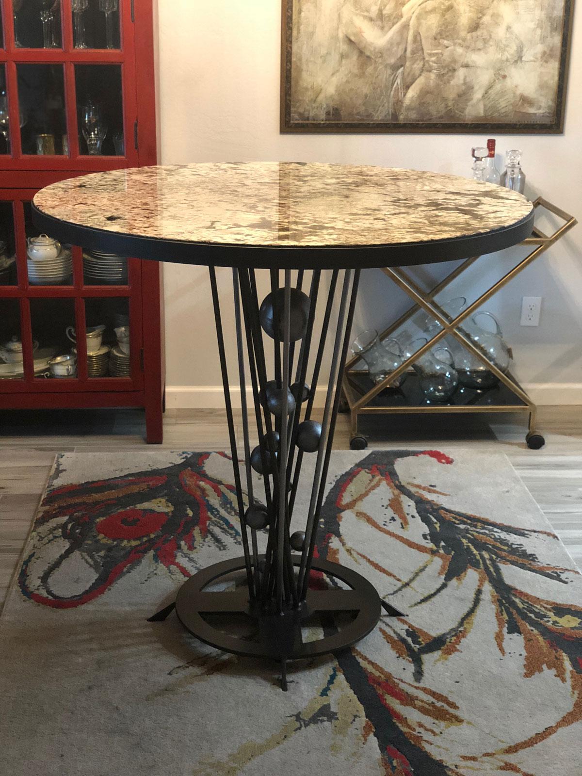 custom round artistic metal base
