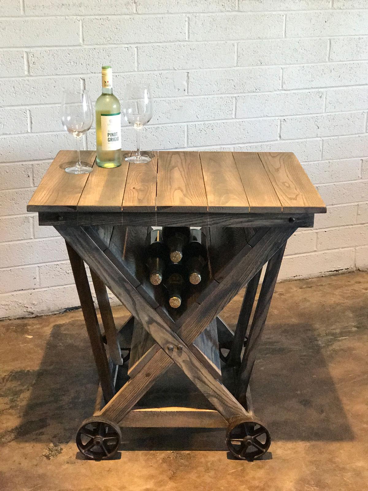 wood wine cart