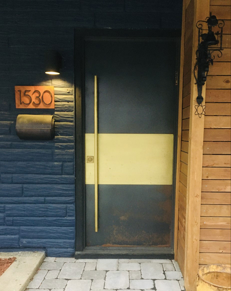 entry door brass and hot rolled steel with custom brass handle