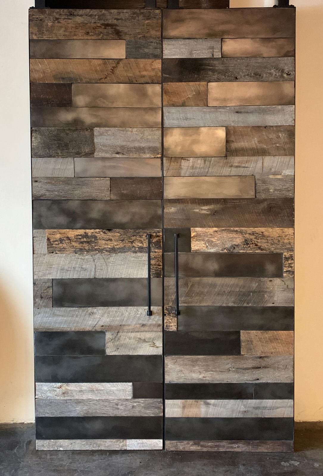 barn wood barn door with metal panel