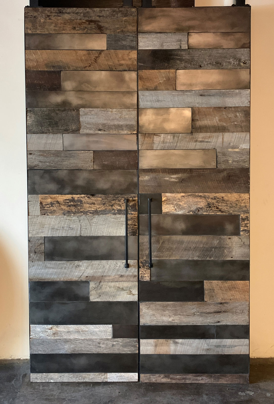 barn wood barn door with metal panel