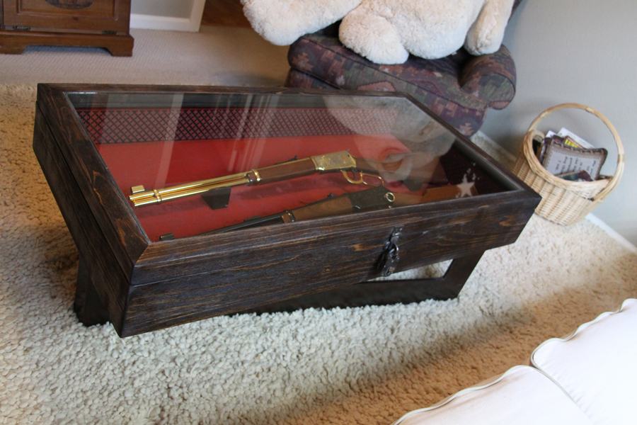 gun encased coffee table