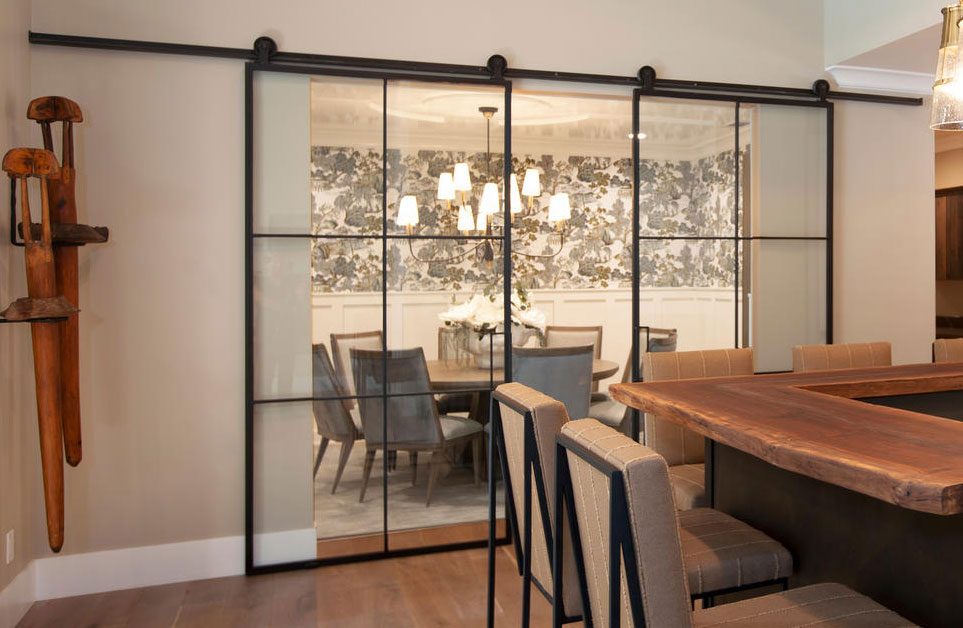large metal and glass barn doors