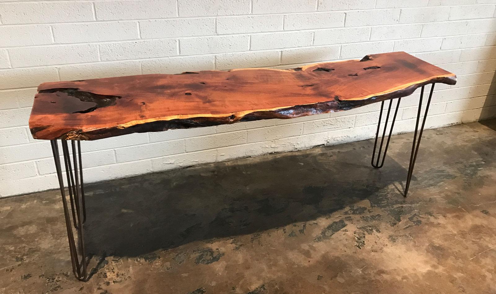 mesquite live edge console table