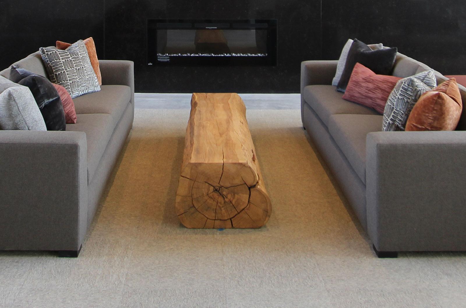 white oak solid log table