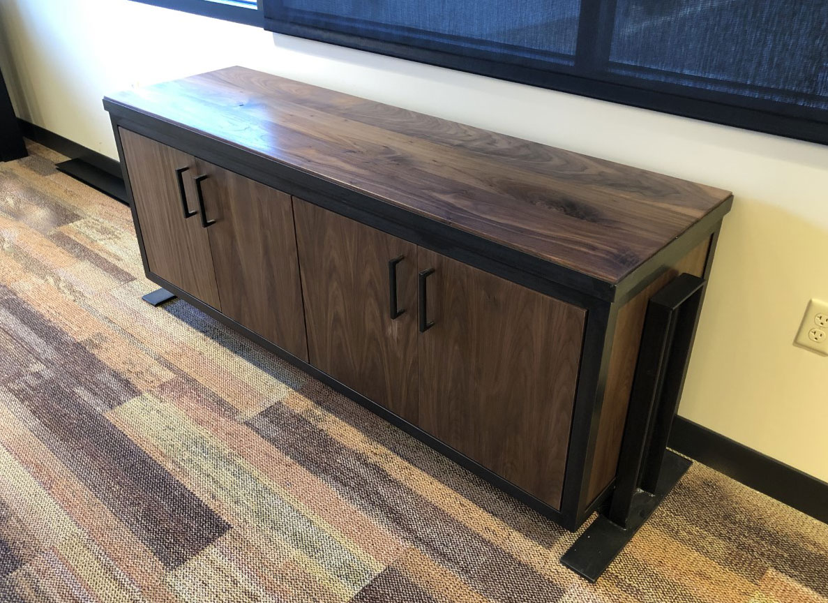 walnut and industrial metal credenza