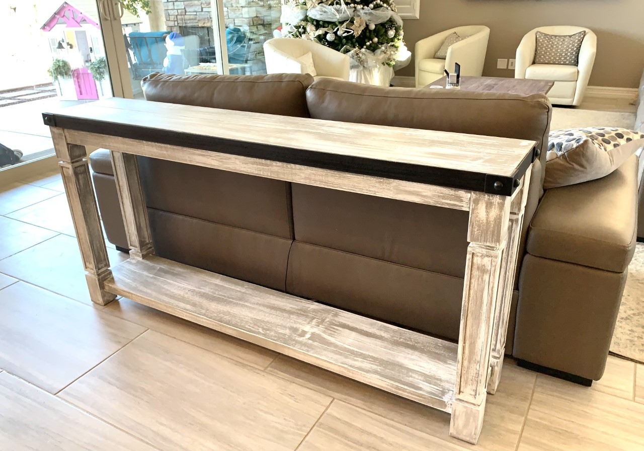 weathered wood sofa table