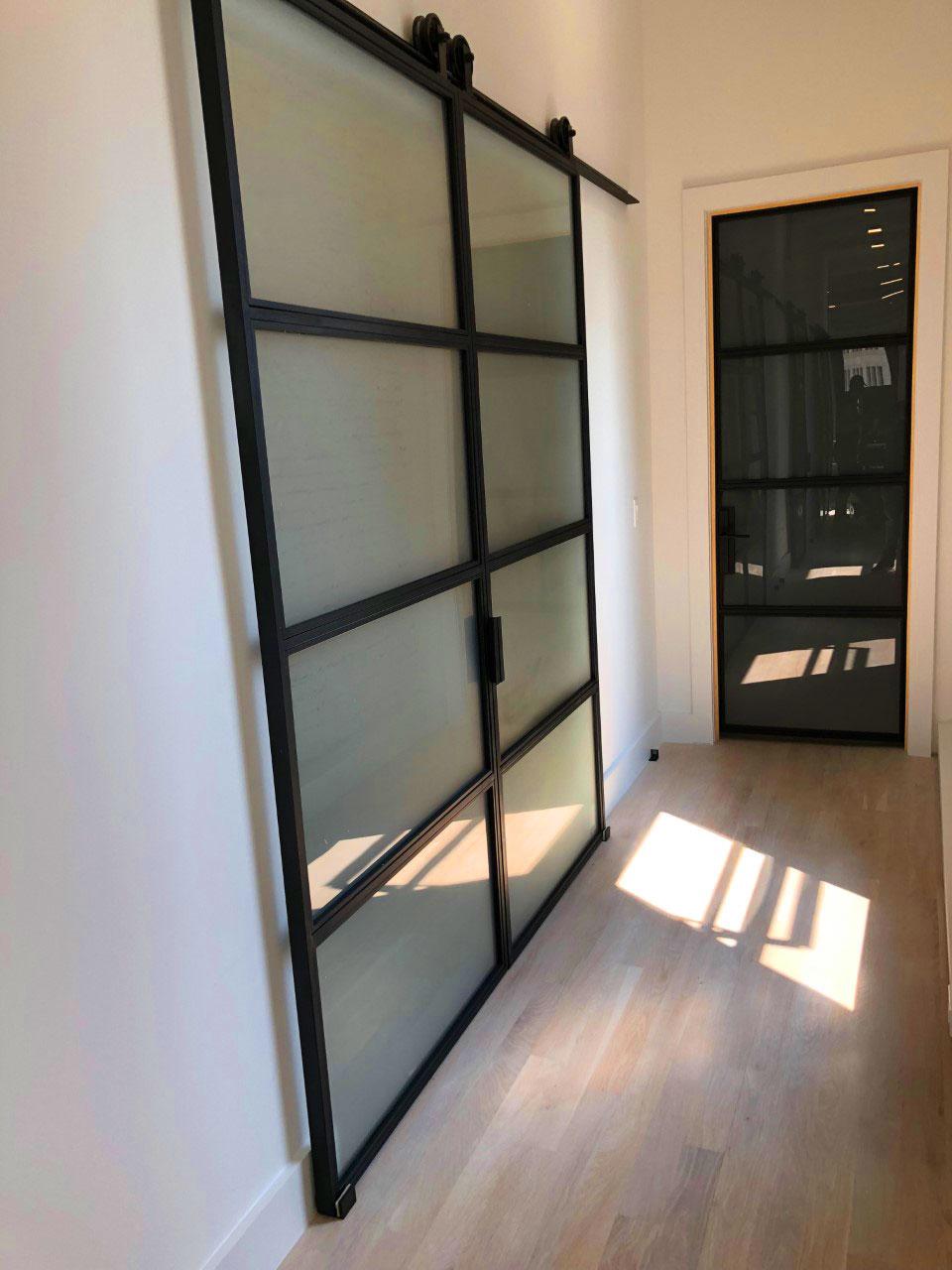 metal and satin lites double doors