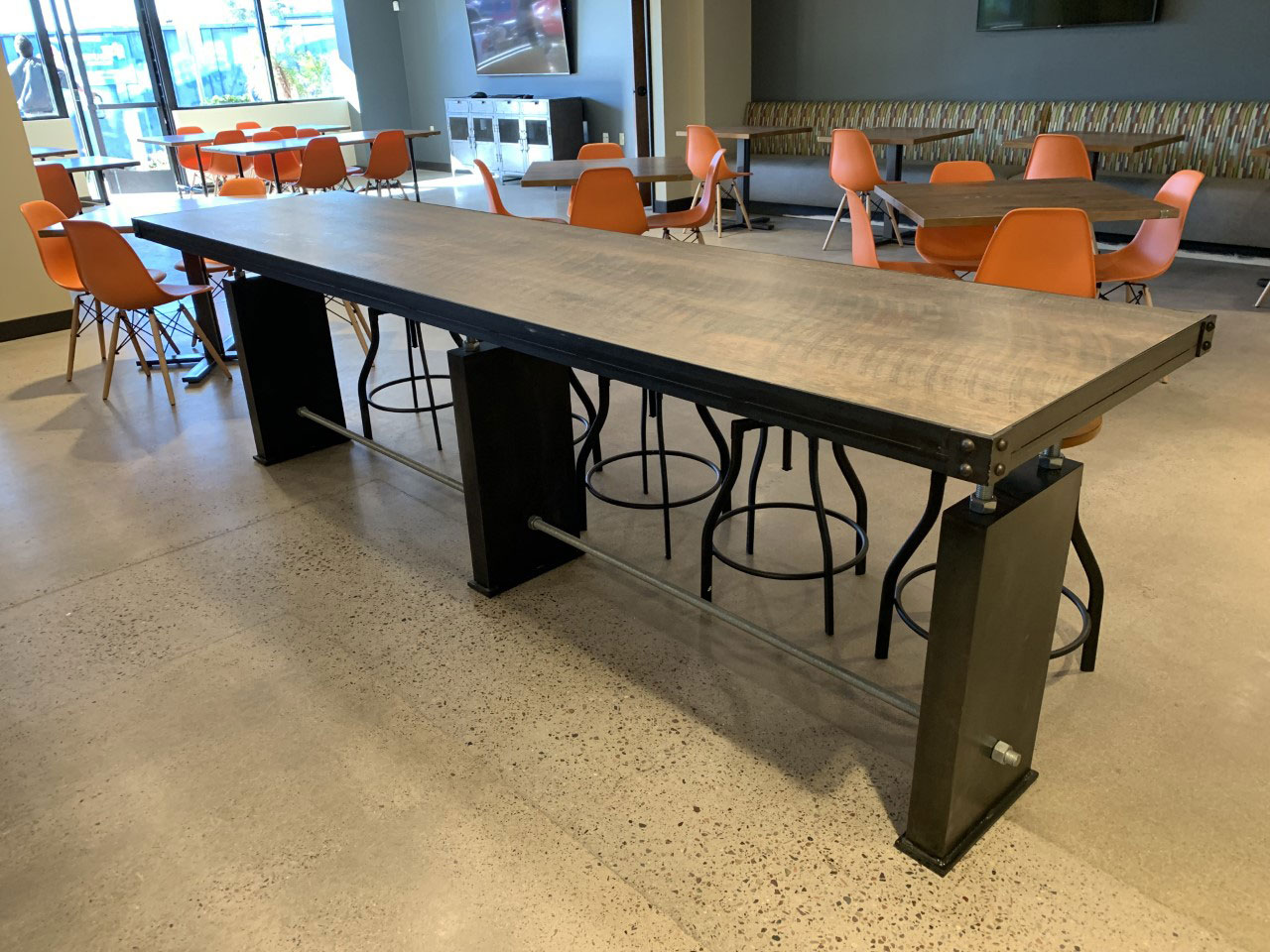 industrial metal and veneer common area table