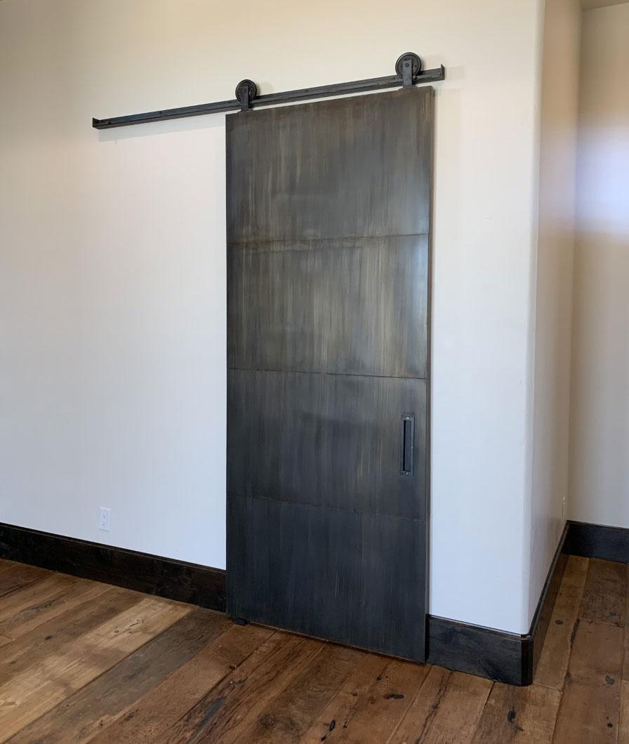 patina metal panel barn door