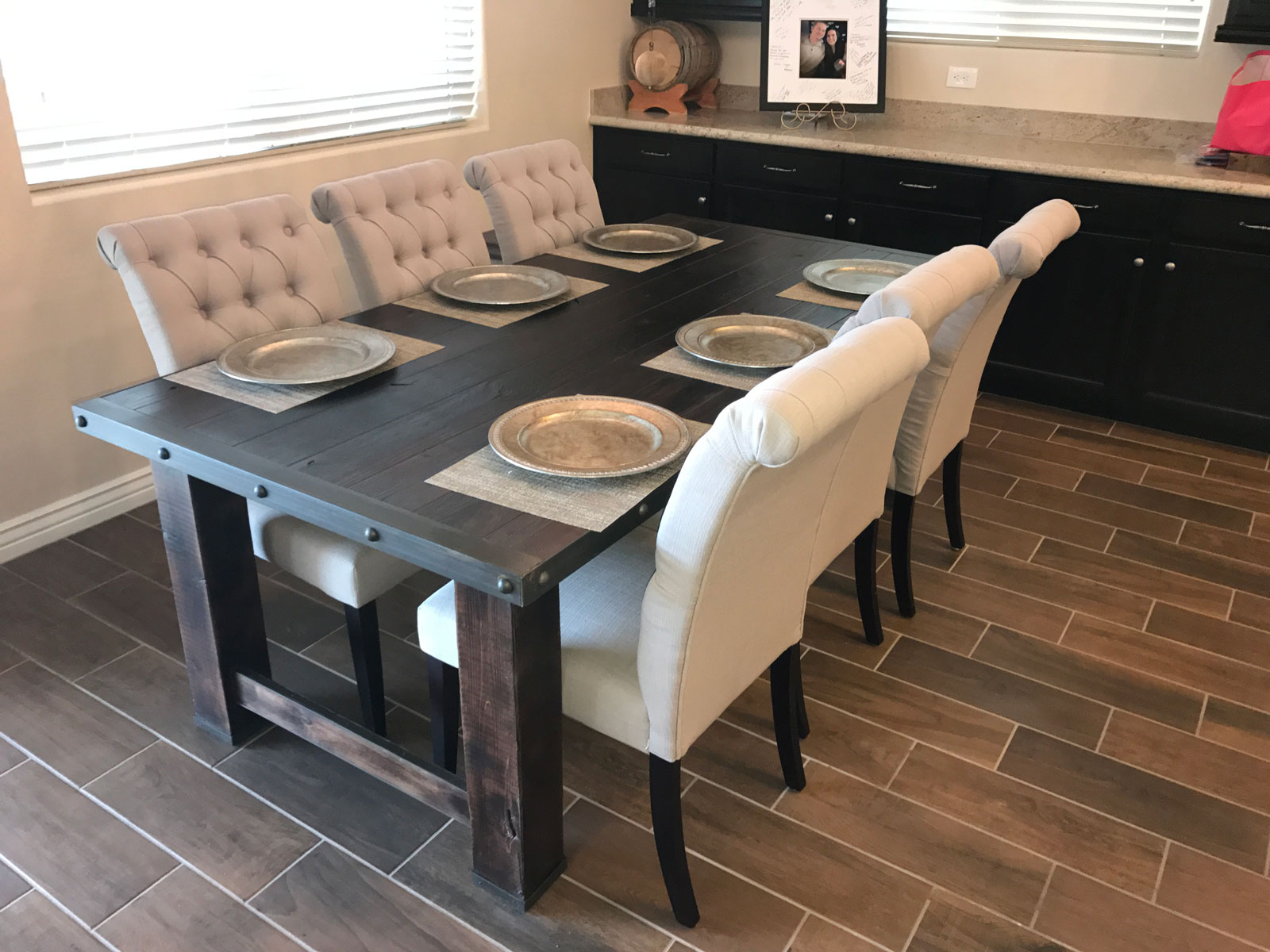 rustic dining table made of wood and metal