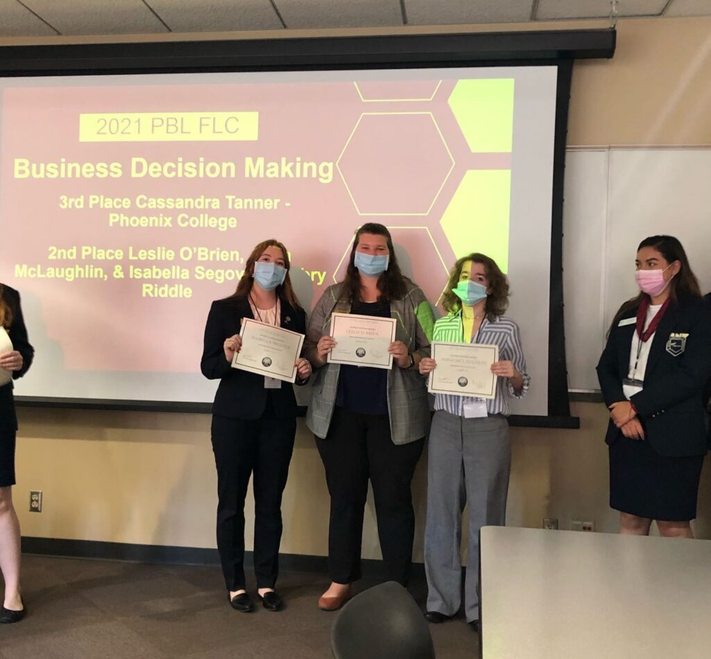 2nd Place Business Decision Making Leslie O'Brien, Anna McLaughlin, & Isabella Segovia - Embry Riddle