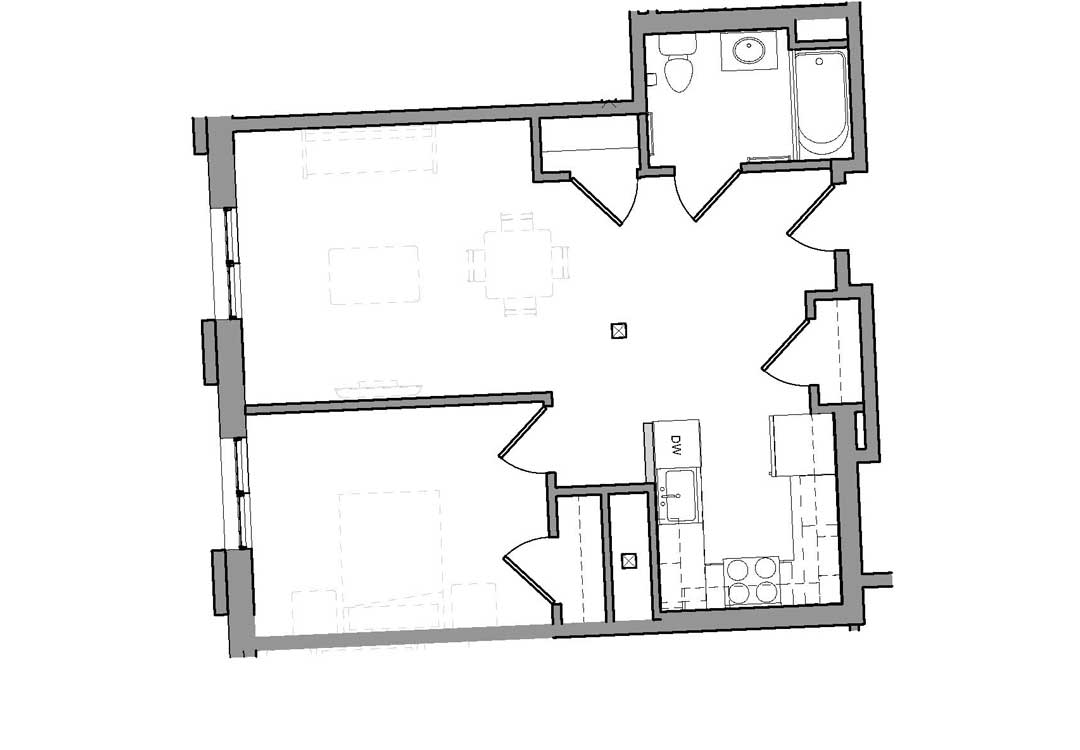 Enter into open living space with two closets. Kitchen on the left and bathroom on the right. Bedroom tucked off the living space.