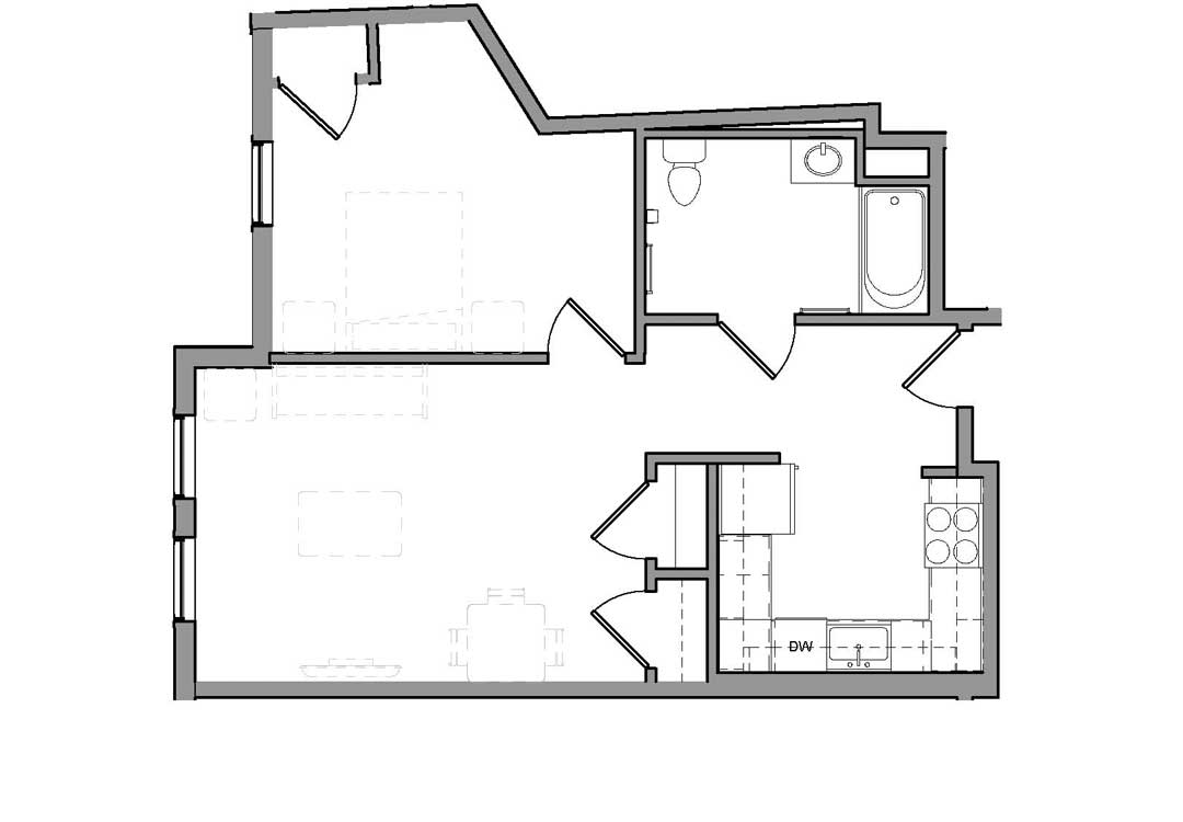 Enter by kitchen with bath on the right, then the living room with 2 closets and a door on the right to a bedroom.