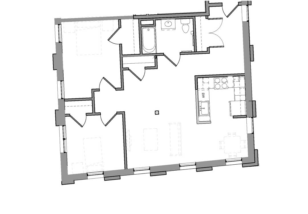 Open living and kitchen space with 2 closets and full bath, bedrooms set off to the left.