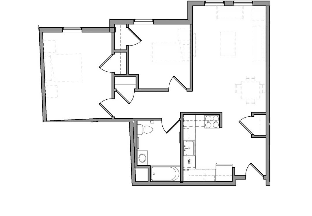 Kitchen and living room on right with a coat closet by the entry. Bedrooms, full bath, and hallway closet on the left.