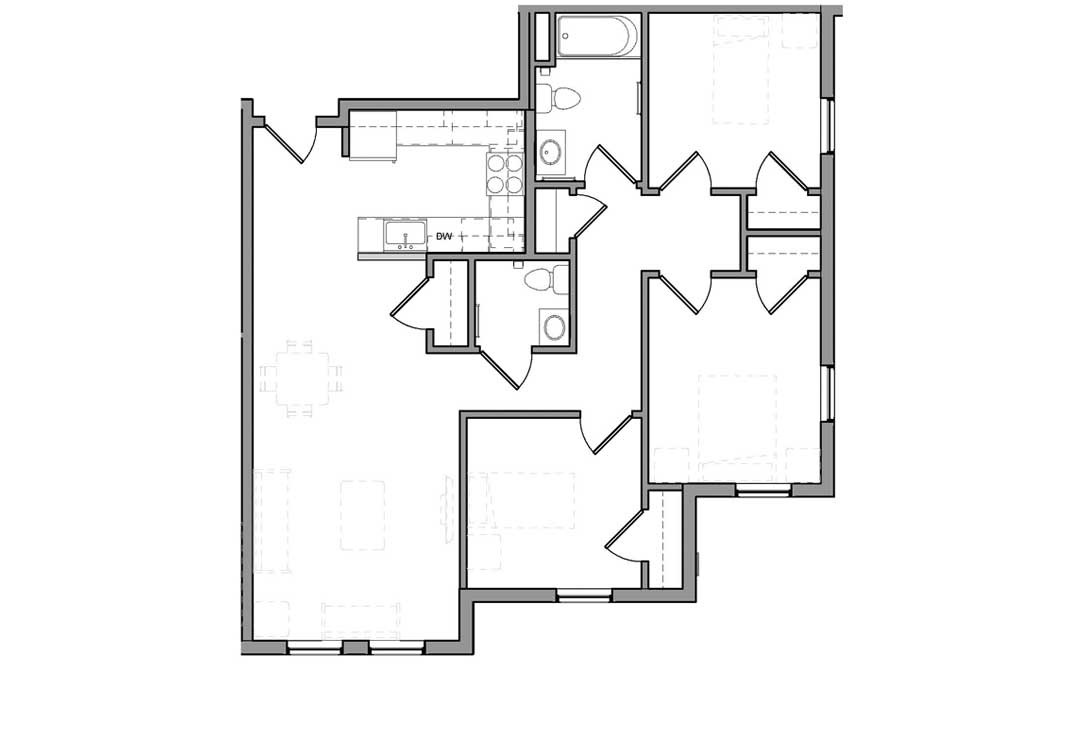 Kitchen, living room, closet, and 1/2 bath on left. Bedrooms, full bath, and hallway closet on the right.