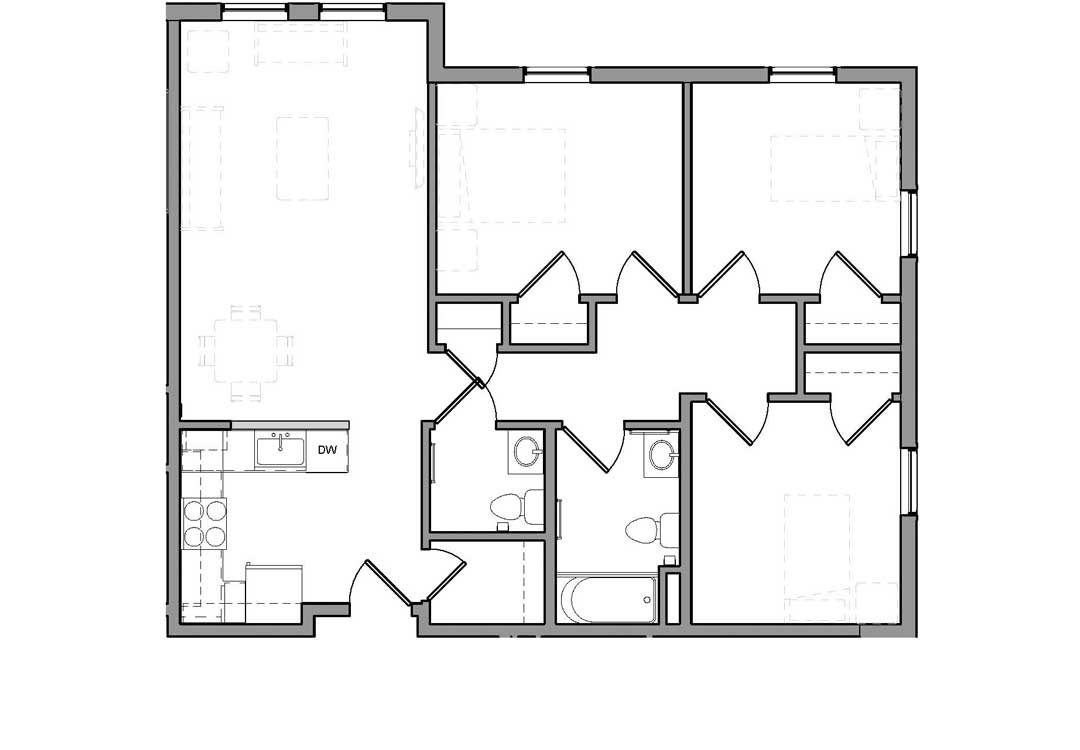 Enter into kitchen overlooking living room. Hall to the right with closets, bath and a half, and bedrooms.