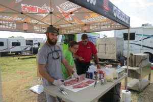 Cookshack team prepping at the Cherokee Strip Cookoff. They use the FEC100, PG1000, and FEC500 at this contest. They were the 2015 People's Choice Winner!
