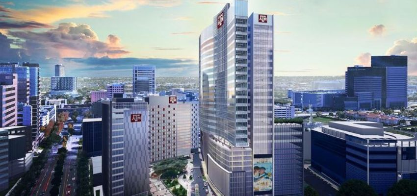 A rendering of the three new Texas A&M buildings in the Texas Medical Center