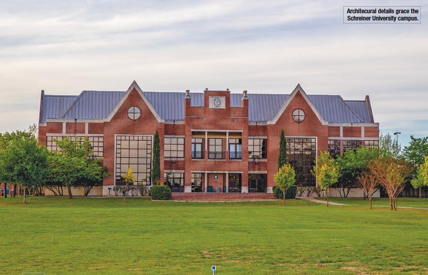 Architectural details grace the Schreiner University campus