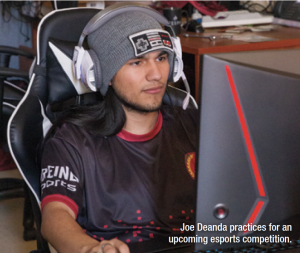 Joe Deanda practices for an upcoming esports competition
