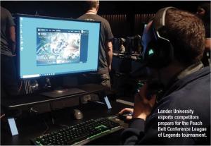 Lander University eports competitors prepare for the Peach Belt Conference League of Legends tournament