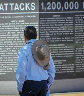 Veteran looking at Veterans's War Memorial in McAllen, Texas.