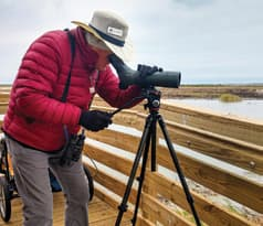 Ray Dillahunty works for a close-up view of birds that draw visitors to the coast.