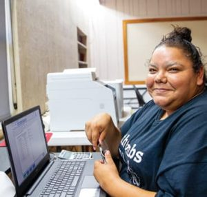 Luisa Loyola takes the GED assessment test.