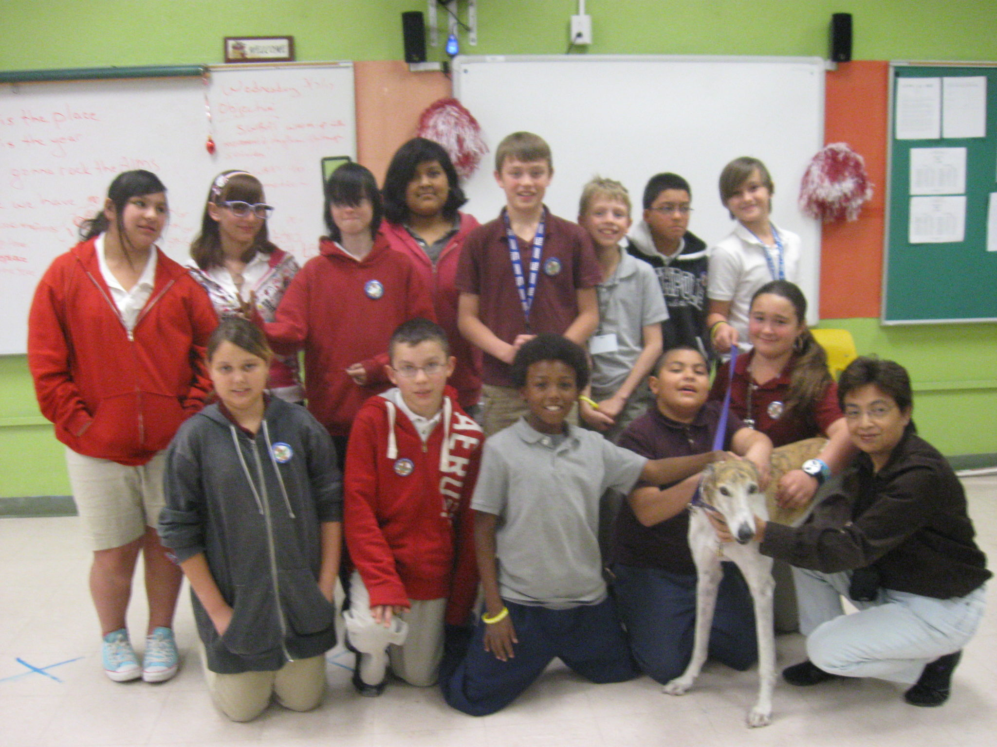 Jett greyhound goes to school