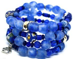 Stunning blue coiled beaded bracelet