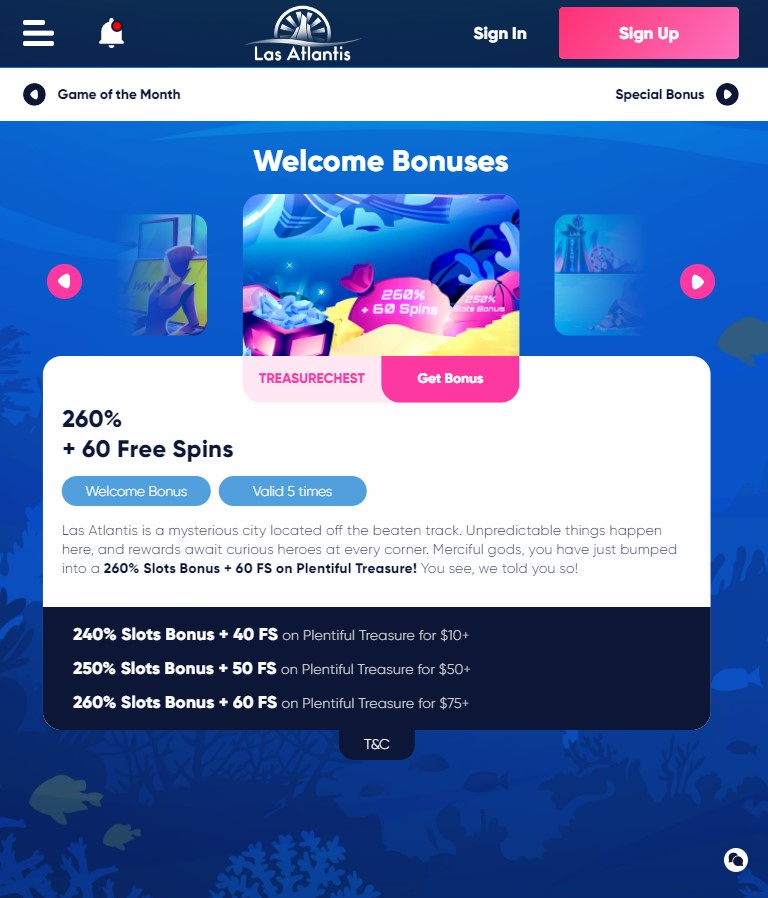 Las Atlantis Casino Bonus Codes