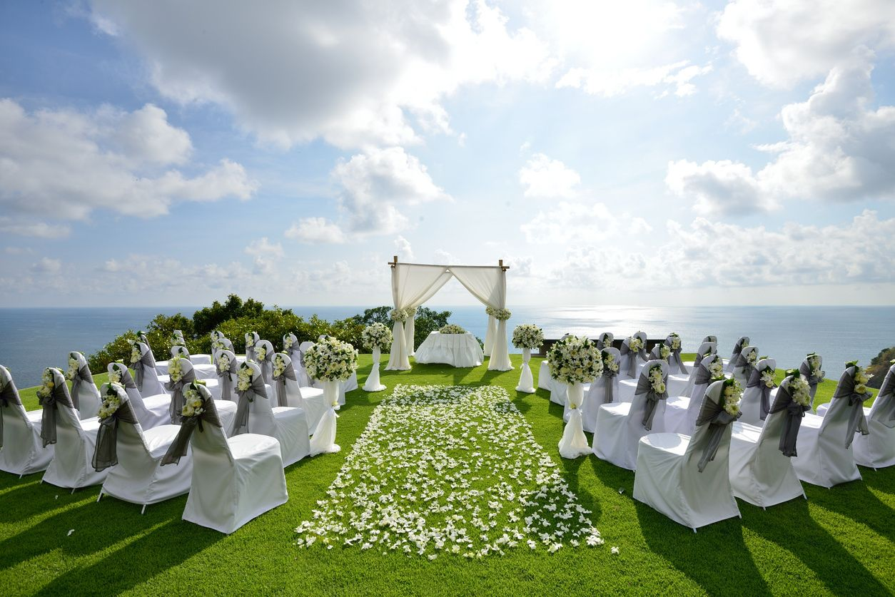 Outdoor wedding ceremony, dj services provide music and microphones, as well as coordinate timing