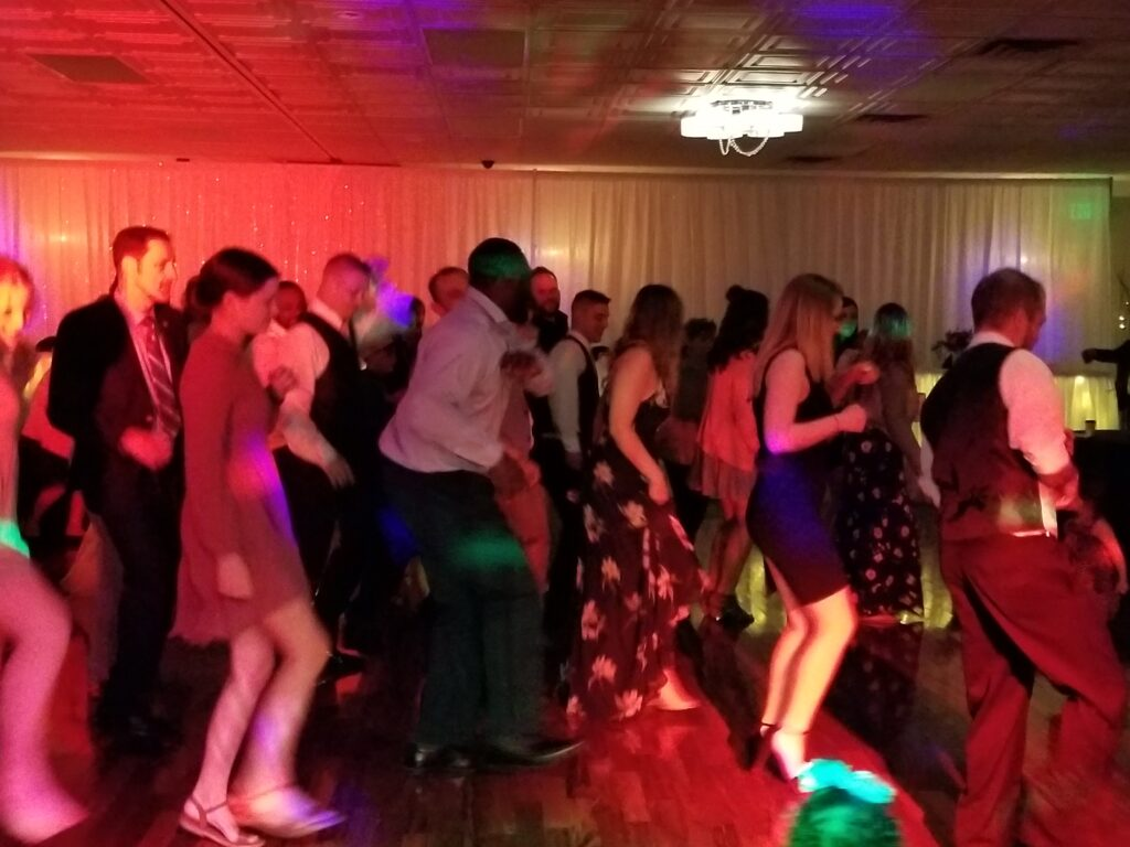 Guests line dancing at a Wedding in SE Wisconsin - MUP DJ's