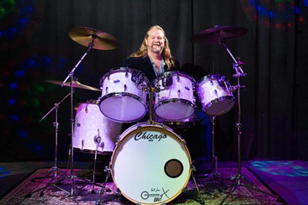 Keith Jones on his Marine Pearl Drum Set