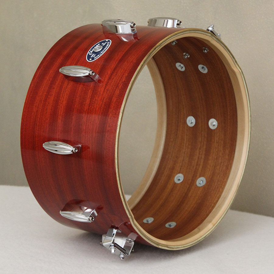 Side view of Red Stained Mahogany Snare Drum