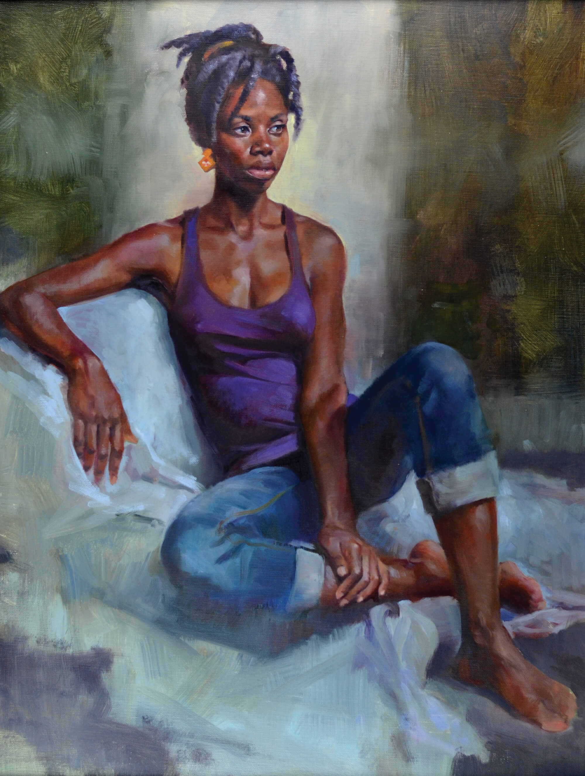 Figurative oil portrait of a young woman wearing a purple tank top and jeans.