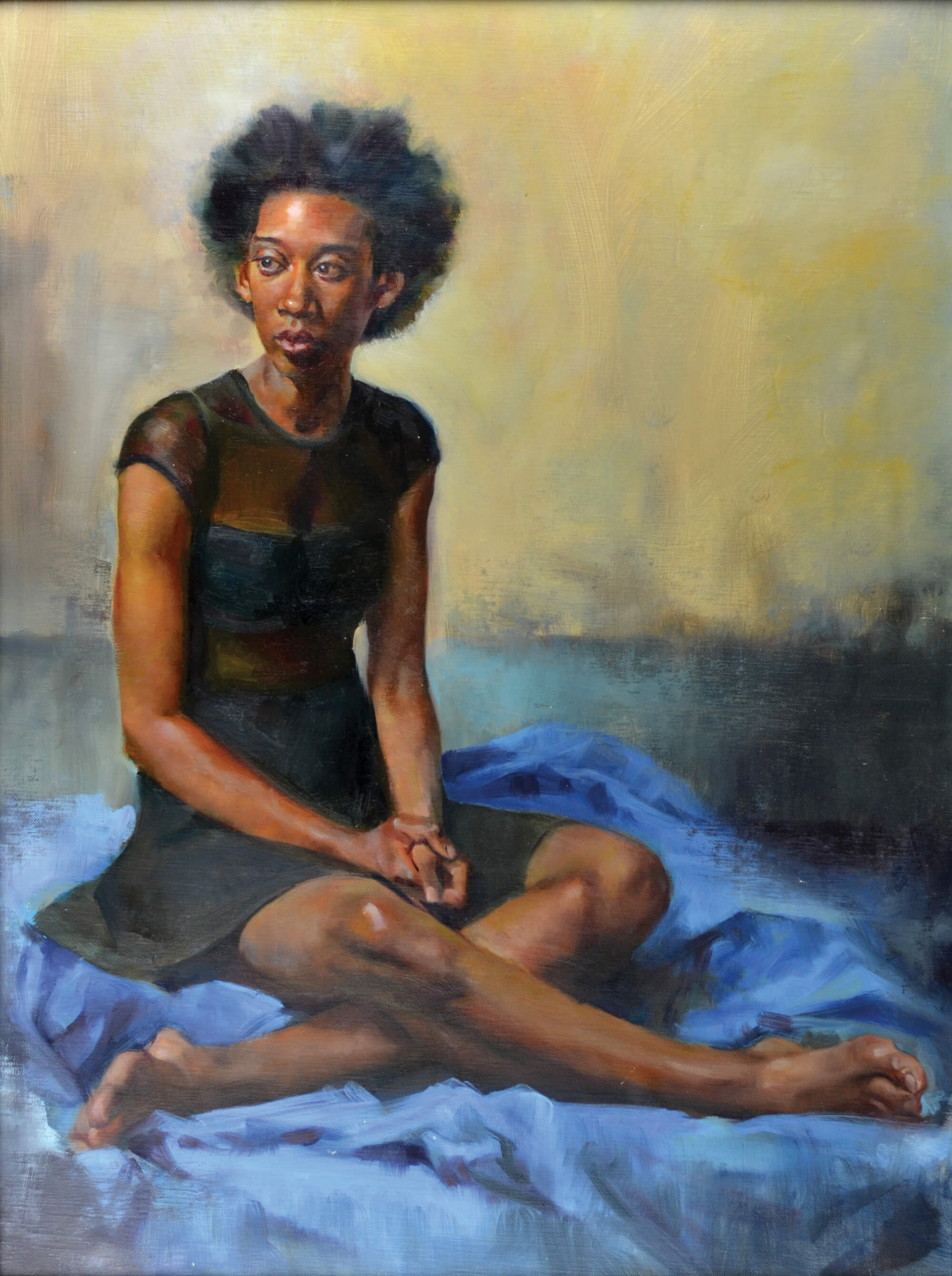 Figurative oil portrait of a young woman wearing a black dress sitting cross legged on a blue cloth