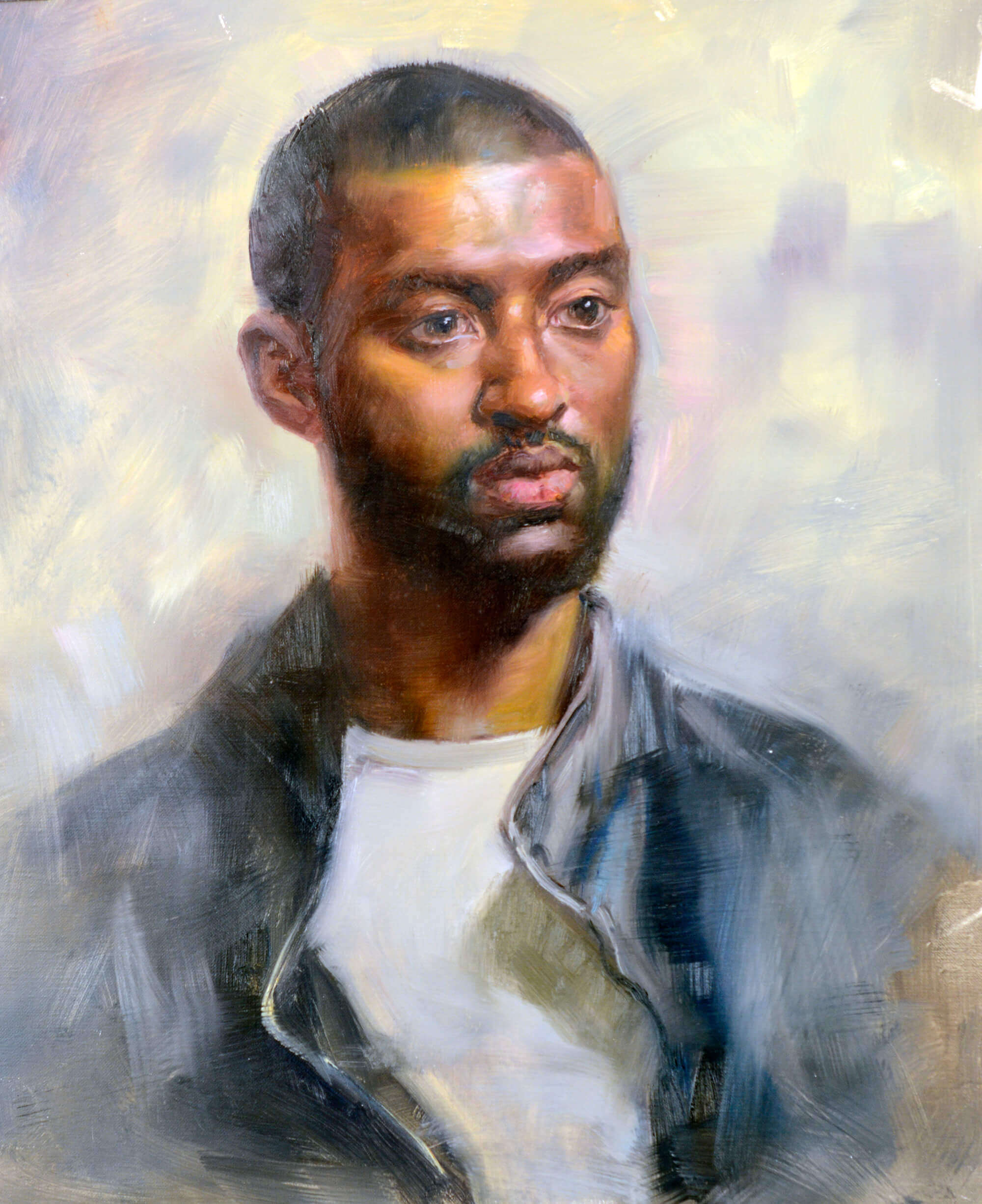 Oil portrait of a young man wearing a white t-shirt and black jacket