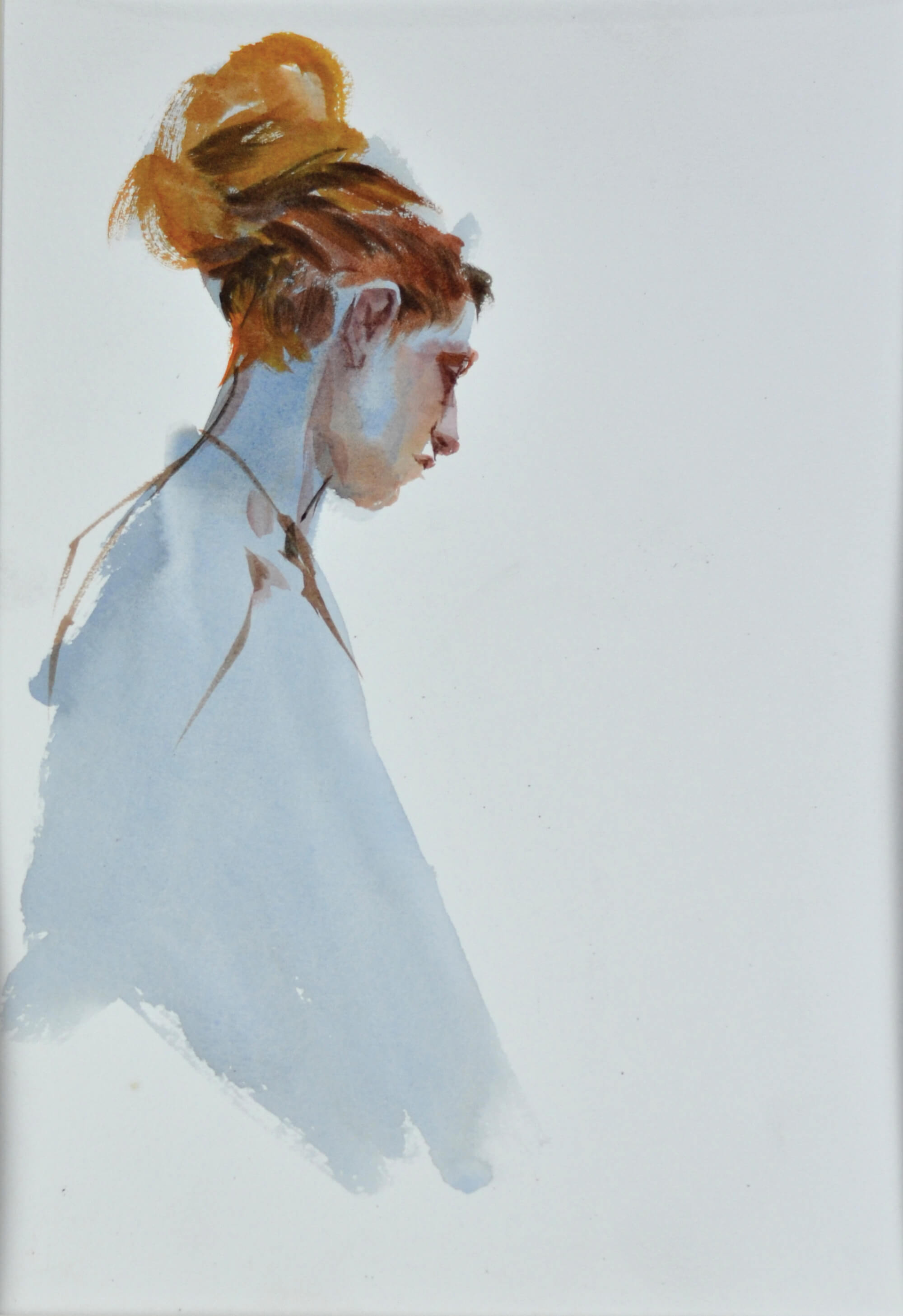 Watercolor painting of a young woman with red hair in blue dress