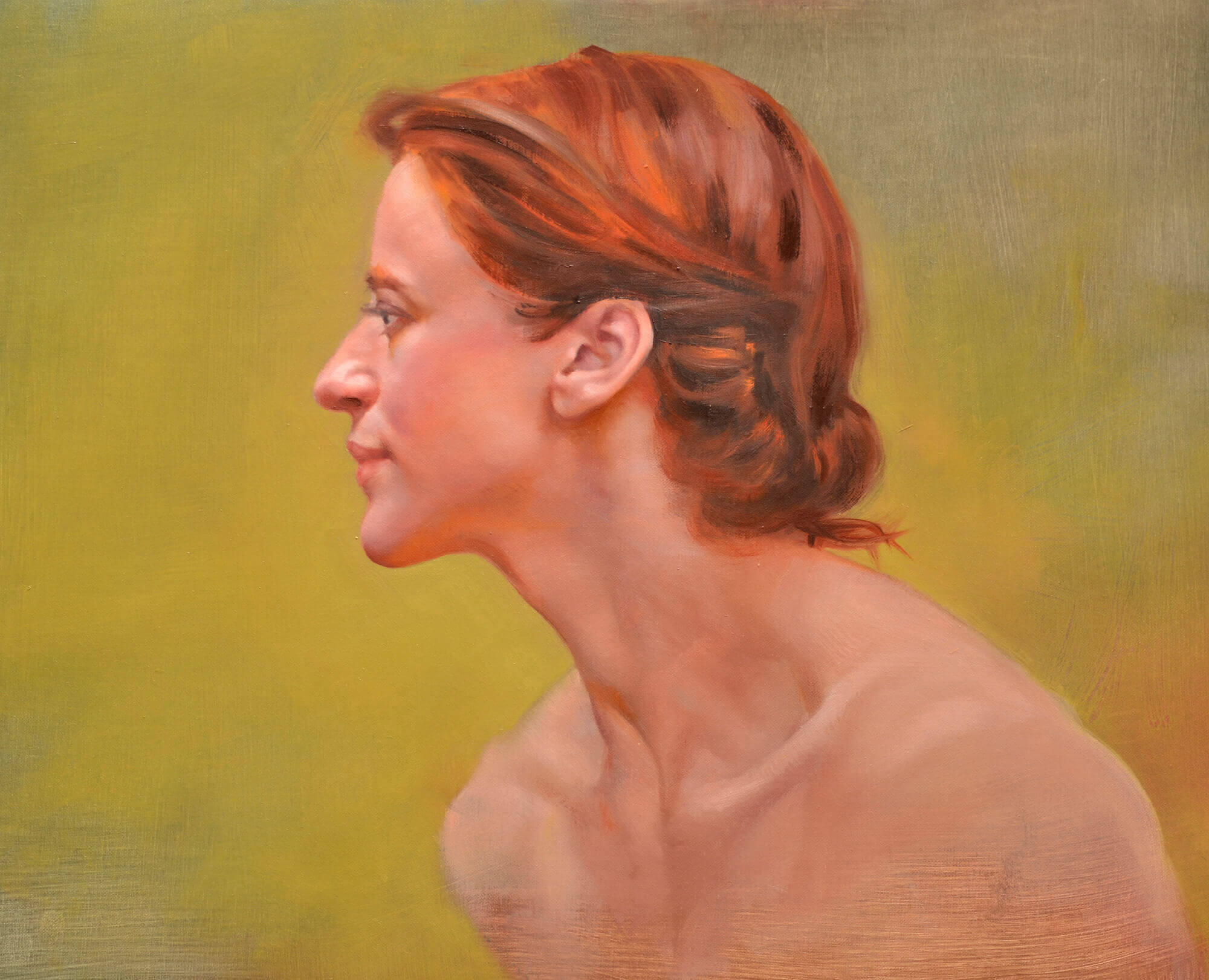 Profile oil portrait of a young woman with red hair with gold flat background