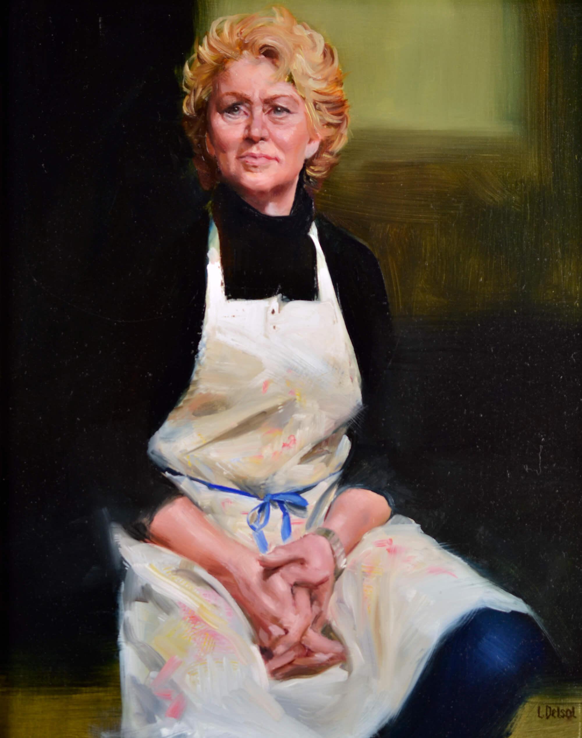 Alla prima oil portrait of a woman artist at the Palette & Chisel wearing a white apron