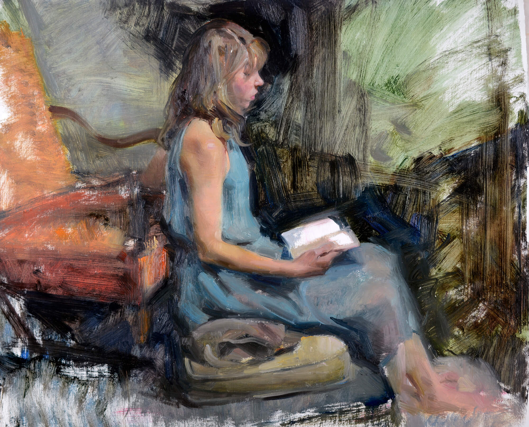 Oil painting of a young woman in a blue dress sitting on a cushion reading her diary near an orange armchair
