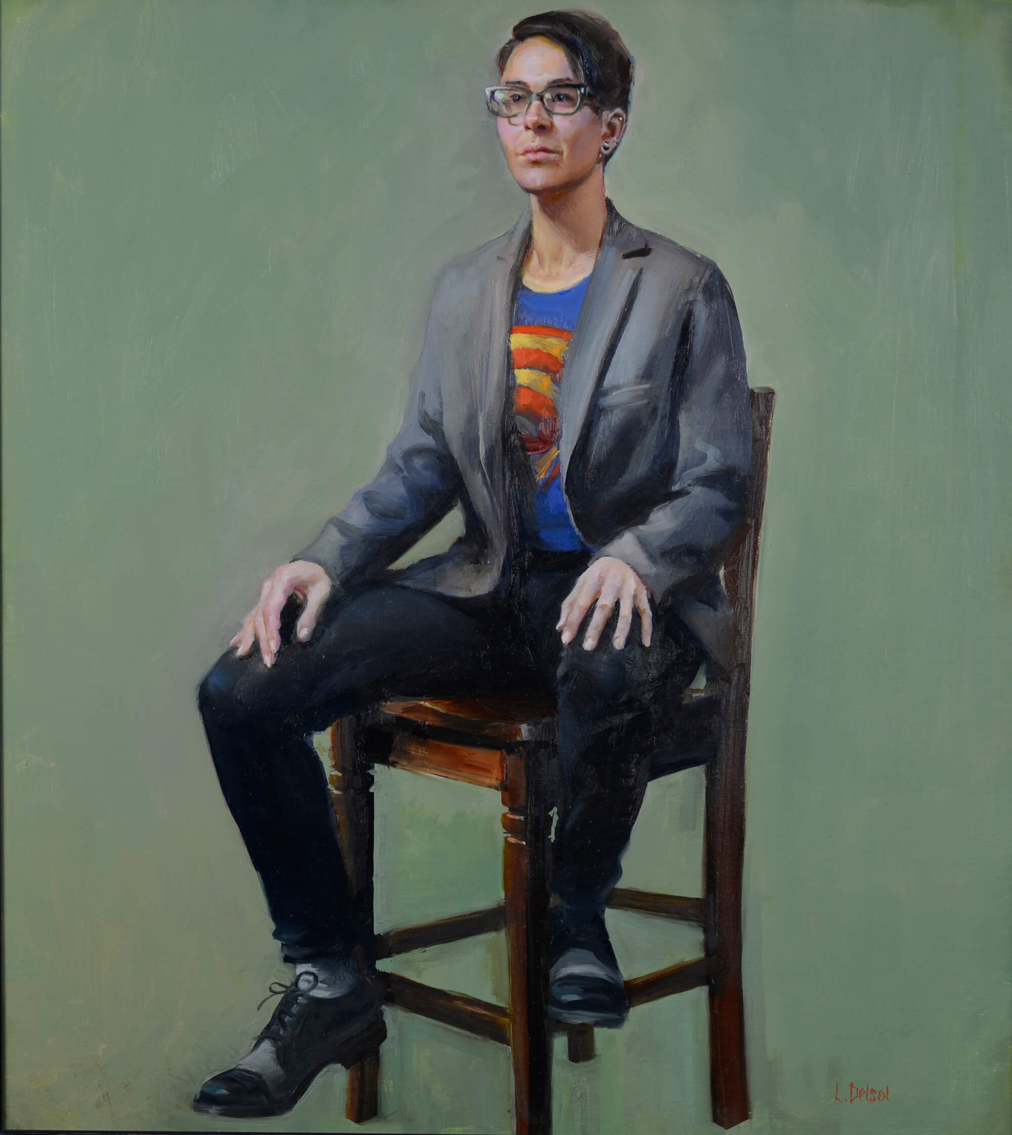 Realistic full fgure oil portrait of bespectacled young woman in gray sport coat and superhero t-shirt on a wooden chair gazing at us