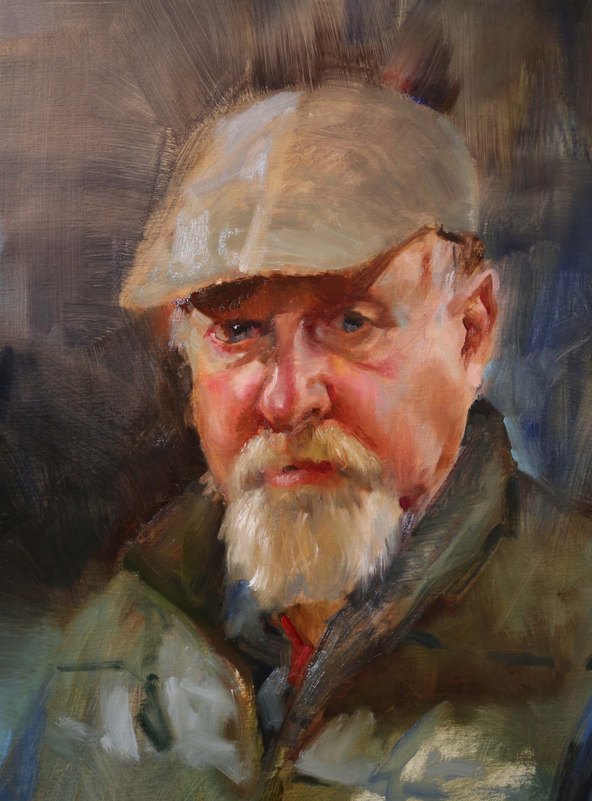 Oil portrait of an older man with a mustache and long goatee wearing a tan cap and green vest